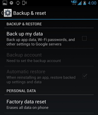 factory data reset android phon