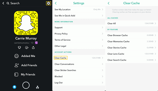 snapchat-clear-cache