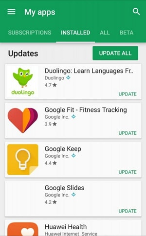 Update the App Android