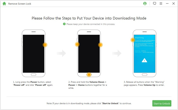 put device into downloading mode
