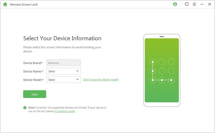 selecr your device information