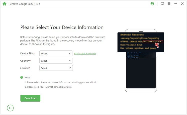 select your device information