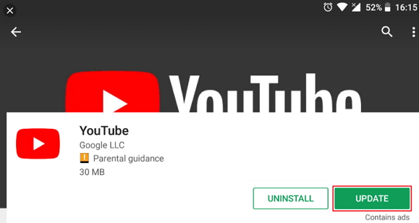update-youtube-android
