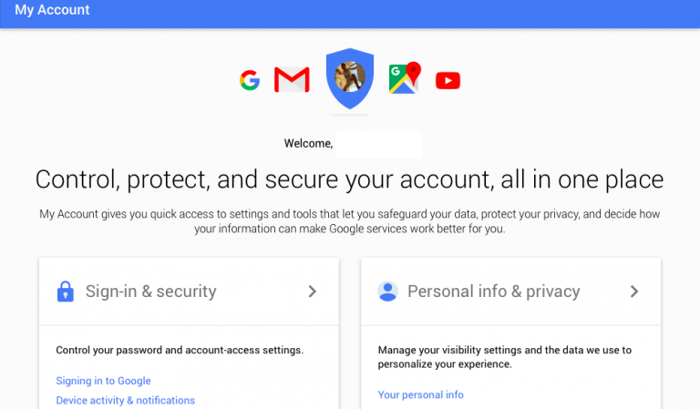 Google Myaccount web screenshot