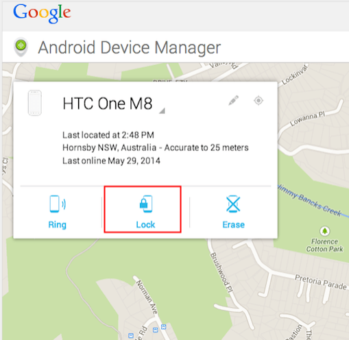 HTC Android Device Manager Lock