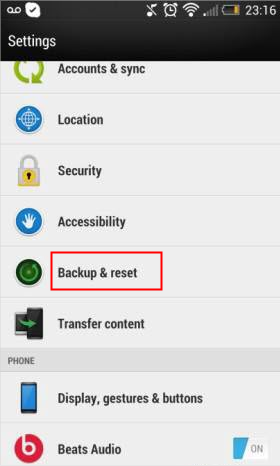 HTC settings backup and reset