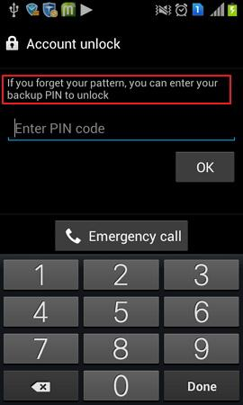 unlock via backup pin