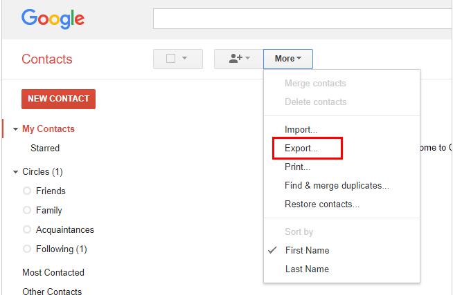 backup and transfer contacts on android to pc via gmail step 4