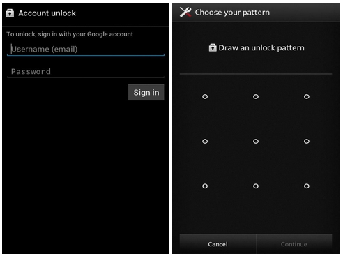 Reset your Android pattern through Google Account
