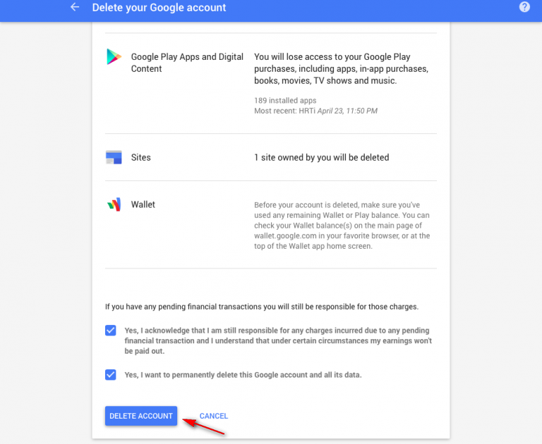 Delete Google account from Google
