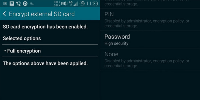 disable mistakenly encrypted SD card