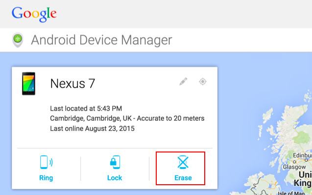 Erase option in Android Device Manager