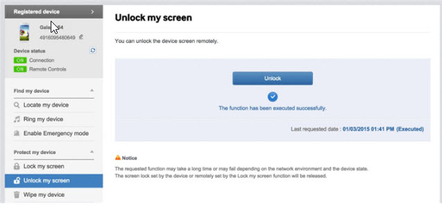 confirm unlock screen with find my mobile