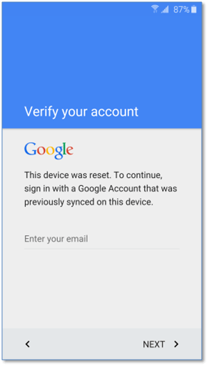 verify google account