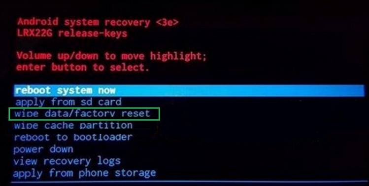 Hard reset Android phone from recovery menu