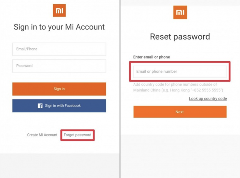reset Mi account password