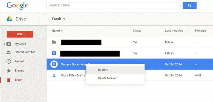 recover data from google drive