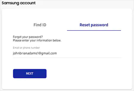 Reset Samsung account password