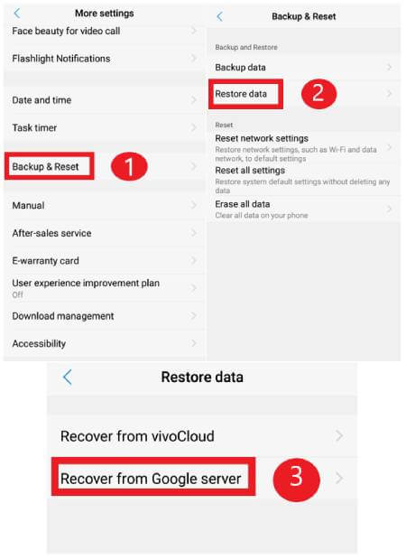 restore data from google drive
