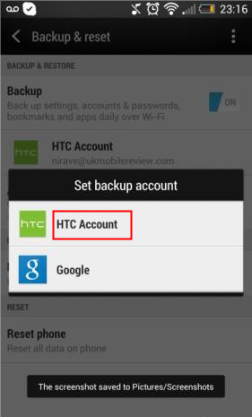 select HTC account