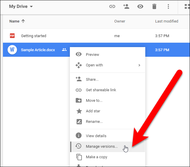 click manage versions on google drive