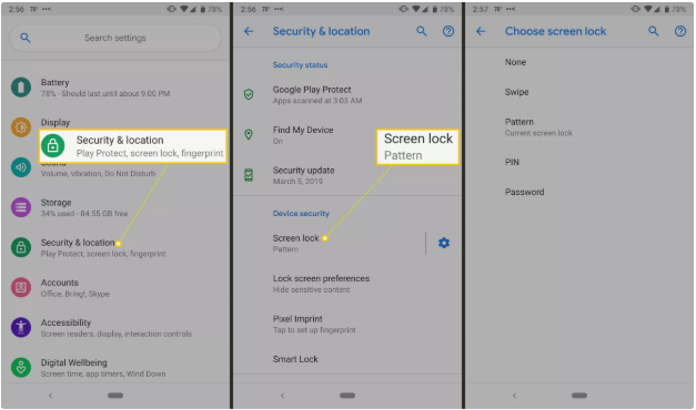 find screen lock from settings