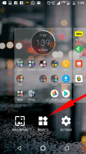tap widget on android settings