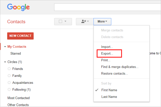 transfer contacts from samsung phone to pc via gmail step 3