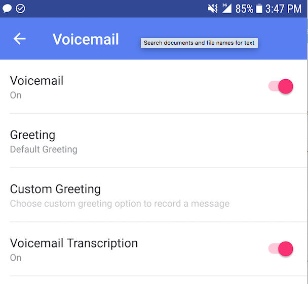 turn on voicemail transcription