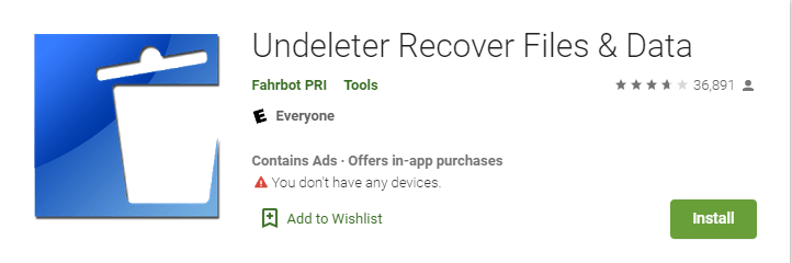 undeleter photo recovery app