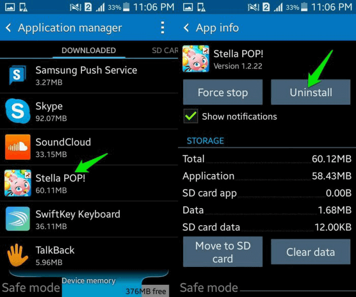 uninstall app from android