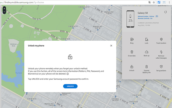Reset Android pattern lock with Samsung Find My Mobile