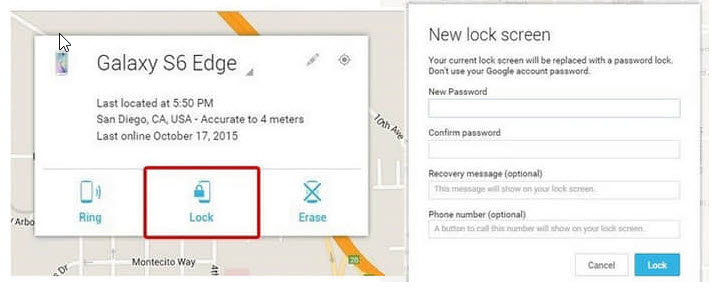 Unlock Android screen lock with Android Device Manger unlock function