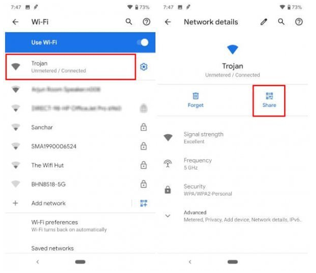 view android wifi password for android q users