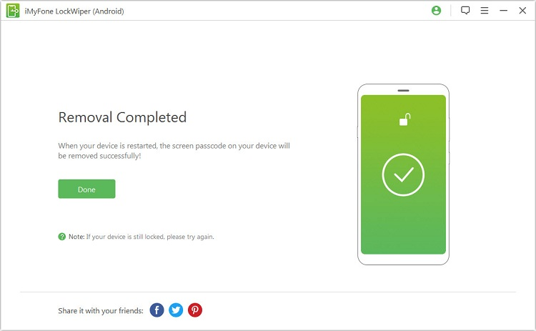 finish unlock process and reset htc